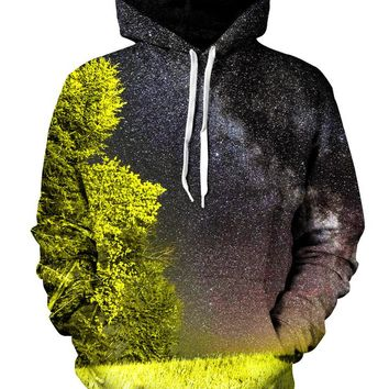 Bright Night Forest Galaxy Pullover Hoodie