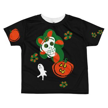Paris METRO Couture: Pumpkins & Sugar Skulls Kids T-shirt-Black