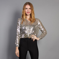 70s SEQUIN Knit TOP / Silver Metallic Sweater Knit Crop Top, xs-s