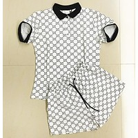 GUCCI Fashion New More Letter Print Sports Leisure Top And Shorts Personality Two Piece Suit White