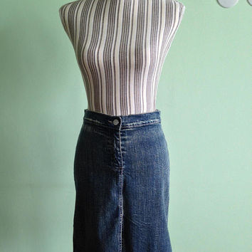 Highwaisted Denim Tulip Skirt, Washed Denim A Line Skirt, High Waisted Skirt, Bleached Denim Slit Skirt, Carrera Italy Midi Skirt Size Small