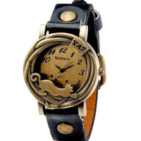 High Quality Genuine Braid Leather Women's Round Wolf Dial Analog Display Stylish Wrist Watch with Adjustable Strap