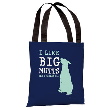 I Like Big Mutts - Navy Teal Tote Bag by Dog is Good