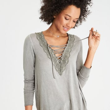 AE Lace-On-Lace Trim Top, Olive
