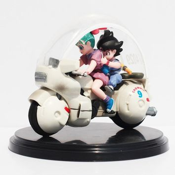 Dragon Ball Z Son Goku Bulma Motorcycle PVC Action Figure Collectible Model Toy 8cm Retail Box Packaged Free Shipping