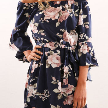 Trumpet 3/4 Sleeves Off Shoulder Flower Print Short Dress