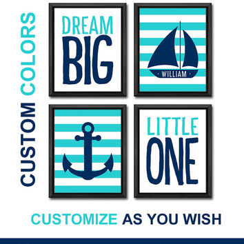 nautical kid art playroom decor personalized baby wall decor ocean boys room decor sailboat anchor nursery wall art nautical new baby gift