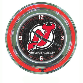 NHL New Jersey Devils Neon Clock - 14 inch Diameter