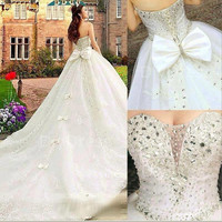 Ball Gowns Handmade Crystal Beaded Bodice Cathedral Train Bridal Gowns,Strapless Wedding Dresses