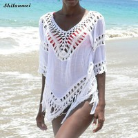 Women cover up chiffon swimming suit beach suit wear outerwear summer bathing cover ups dress female 2018 sexy hollow
