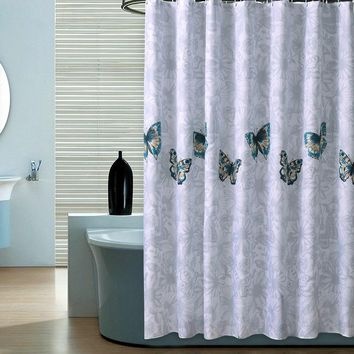 Home Butterfly Waterproof Shower Curtain