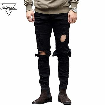 Men Knee Ripped Big Hole Men Jeans Streetwear Skateboard Straight Pants Man Casual Elastic Jeans