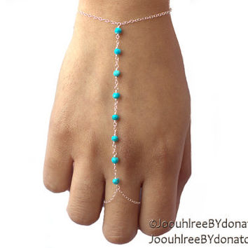 Turquoise slave bracelet - sterling silver hand bracelet, 14k white gold available, sleeping beauty turquoise, customize, december stone