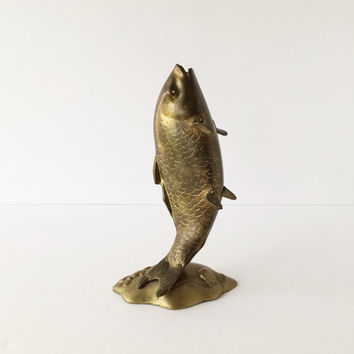 Vintage Solid Brass Fish on Stand, Upright Leaping Fish, Library Office Decor, Field and Stream Cabin Lodge Decor