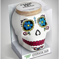 12 oz Candy Sugar Skull White Ceramic Stash Jar - Spencer's