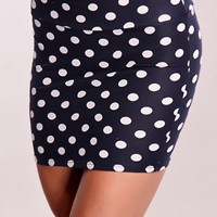 Navy White Polka Dot Pattern Skirt