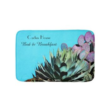 Agave and Prickly Pear Cactus on Turquoise Wall Bath Mat