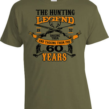 60th Birthday Shirt Hunting Gift Ideas For Him Outdoor T Shirt Bday TShirt Personalized The Hunting Legend For 60 Year Old Mens Tee DAT-1104