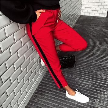 Women Sport Casual Fashion Multicolor Stripe Sweatpants Leisure Pants Trousers