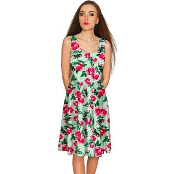 Sweetheart Mia Green Floral Skater Party Dress - Women