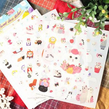 DCCKL72 Diy Jetoy Sweet Cats Stickers Pack Post it Kawaii Planner Scrapbooking Sticky Memo Sticker Stationery 2016 New School Supplies