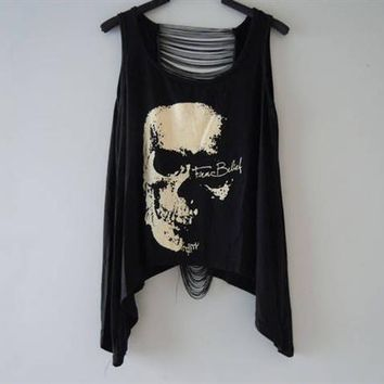 Women's tank tops blusa regata lady's bustier brandy melville Hollow out skull printed camis lace vest for woman F390