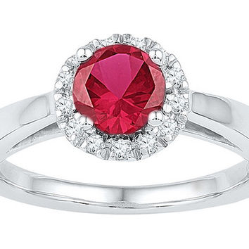 10k White Gold Womens Lab-created Ruby & Diamond Cocktail Ring 1-1/10 Cttw 103797