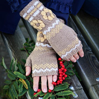 SALE 50% off Knit fingerless gloves with flowers, wool arm warmers / wrist warmers in brown, yellow and white