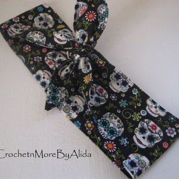 Hair Bandana, Rockabilly 50s Bandana, Bandana Headband, Day of the Dead, Knotted Bandana, BOHO Hairband, Women and Teens, Fabric Headband