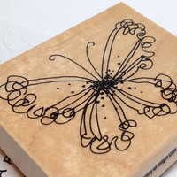 Ruffled Butterfly Stamp by Stampendous,Butterfly Stamp Art,Wooden Butterfly Stamp Art,Bug Stamp,Stamp on Block,Wire Butterfly Stamp,Stamp