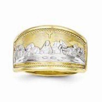 10k Yellow Gold & Rhodium Womens Last Supper Ring