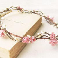 Flower Crown, Bridal Headpiece, Rustic Circlet, Woodland Halo, Pink, Ivory, Berry Wreath, Wedding Hair Accessories, Bohemian, Country