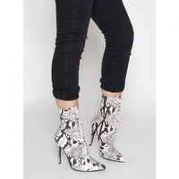 Aaliyah Black and White Lace Up Pointed Ankle Boots : Simmi Shoes