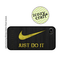 nike iphone 5 case, iphone 4 case, iphone 4s case, just do it , wood pattern, grey iphone cover, Hard case -106