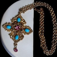 Vintage Faux Turquoise & Pink Rhinestone Scrolled Tiered Maltese Cross Necklace