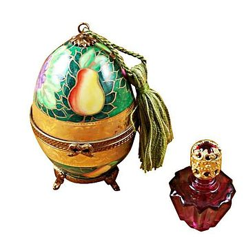 Green-Rose Egg With 1 Bottle Limoges Boxes