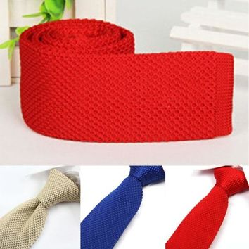 Stylish Men Knitted Tie Slim Skinny Woven Knit Narrow Necktie Solid Color Hot H34