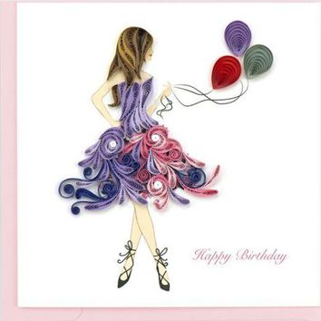 Quilling Card Happy Birthday Girl Greeting Card