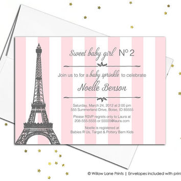 baby sprinkle invitation girls, pink stripes paris baby shower invitation, DIY baby shower invite pink gray, printable or printed - WLP00711