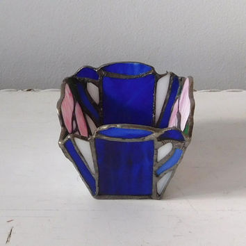 Stained Glass Candleholder Cobalt Blue Pink Flower Design Candle Holder Vintage