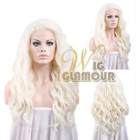 "Long Curly Wavy 24"" White Platinum Blonde Lace Front Synthetic Wig Heat OK"