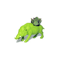 Up-cycled Lime Green Wild Boar Animal Planter