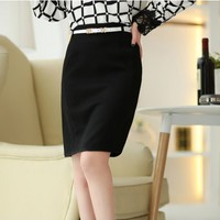 New Arrivals : Midi Office Black Skirt with Free Belt YRB0643