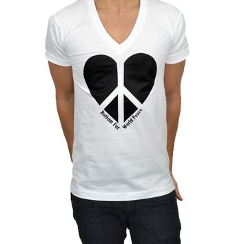 BOTTOM FOR WORLD PEACE V-NECK (WHITE)