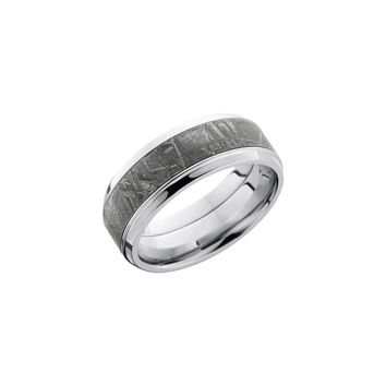 Cobalt Chrome Beveled Band Ring with Meteorite Inlay