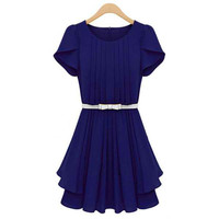 Purplish Blue Short Sleeve Chiffon Mini Dress
