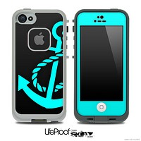 Solid Black and Turquoise Anchor Skin for the iPhone 5 or 4/4s LifeProof Case
