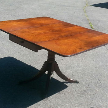 Vintage Mahogany Pedestal Drop-Leaf Dining Table