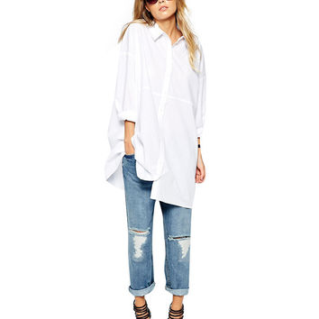 White Square Collar  Long Sleeve Long Line Blouse