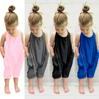 Newborn Infant Baby Girls Loose Sleeveless Rompers